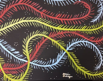 Colorful Vines 16x20 Acrylic Painting