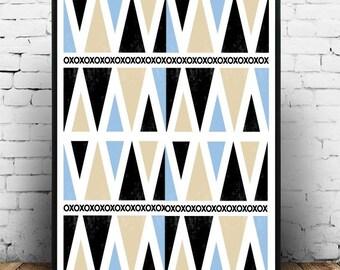 Mid Century Modern, Art Print,  Scandinavian Art, Giclee print, Abstract Wall Art,  large Print, Abstract Art Print
