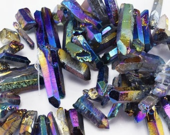 Natural Plating Quartz Gemstone Beads Mix Sizes by Strands Beads Natural healing stone chakra stones for Jewelry Making