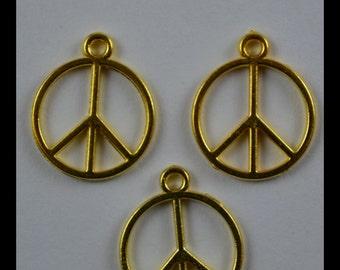 14mm Mini Peace Sign Pendant, Alloy Gold Color, 14mm