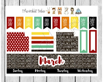 Freestyle Planning - March Monthly Kit - planner stickers
