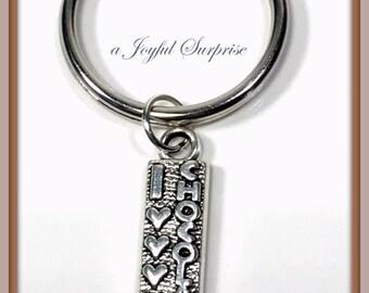 Chocoholic's Keychain, Silver I love Chocolate Key Chain, Charm Gift for Boyfriend Girlfriend Jewelry Keyring Valentines Day Her him present