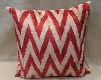 Ikat Velvet Chevron Pillow - 20'' x 20'' Ikat Pillows Red Chevron Pillow Chevron Pillow Decorative Throw Red Ikat Pillow Zigzag Pillow