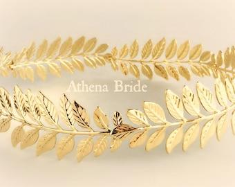 Gold Crown Greek Leaf Athena Goddess Stefana