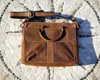 SALE MARKDOWN The Urban Professional - Brown Leather Bag/ Messenger Bag/ Briefcase Bag/ Laptop Bag