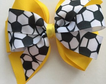 Soccer Hair Bow, Bow with Soccer Balls,  Black Soccer Ribbon Hair Bow, Sporty Hair Bow, Soccer Team Bow, Custom Soccer Bows Any Color