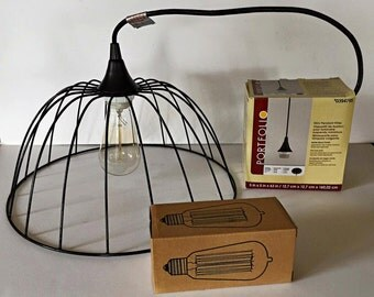 Black Metal Basket Pendant Light
