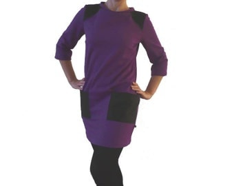 Mini dress S purple black dress time shift dress - women