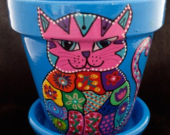 Painted Terracotta  Cat Pot