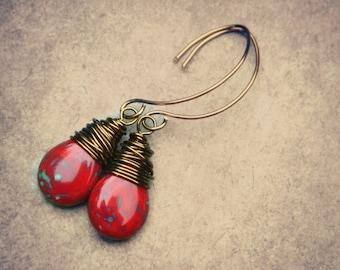 Drop Earrings - Red Czech Picasso Teardrop, Jewelry Earrings, Red Earrings, Dangle Earrings, Rustic Earrings, Rustic Wedding Earrings. HOT