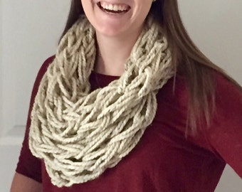 Arm Knitted Infinity Scarf- Oatmeal (tan)