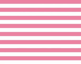 Riley Blake Hot pink and White half inch Stripe knit fabric --1 yard