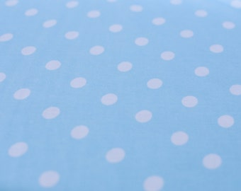 1yd x 54'' Turquoise/White Polka Dot Jersey Stretch Fabric / 100% Cotton / by the yard