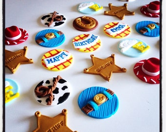 24 x Toystory Cowboy Themed cupcake Toppers fondant edible handmade toppers