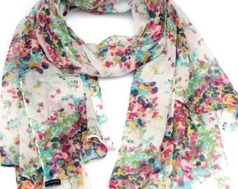 Floral scarf, Floral summer scarf, Summer scarf, 2017 summer scarves