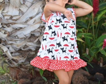 Infant and Baby Girls Ruffle Dresses  Made on Kauai, Hawaii, Red and Black cat print