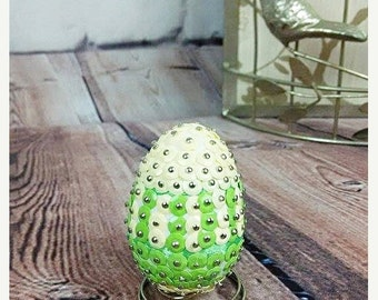 On sale Sequins Easter Egg - Yellow and green with stand 5.5cm