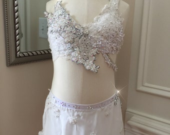 2 Piece Custom Lyrical Dance Costume---Bride inspired  WHITE with Appliques and Rhinestones