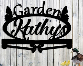 Custom Metal Garden Sign - Personalized Name - Garden Sign