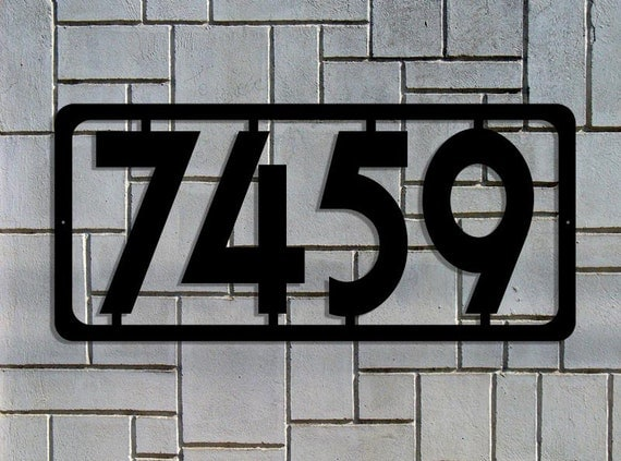 Simple modern custom metal address sign large house numbers for Big modern house numbers