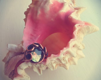 Magical 'Sea Witch' Ring in raw antiqued Copper with genuine black Pearl