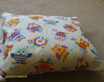 handmade cushion cover printed owl fabric both front and back. The cover is of an envelope design