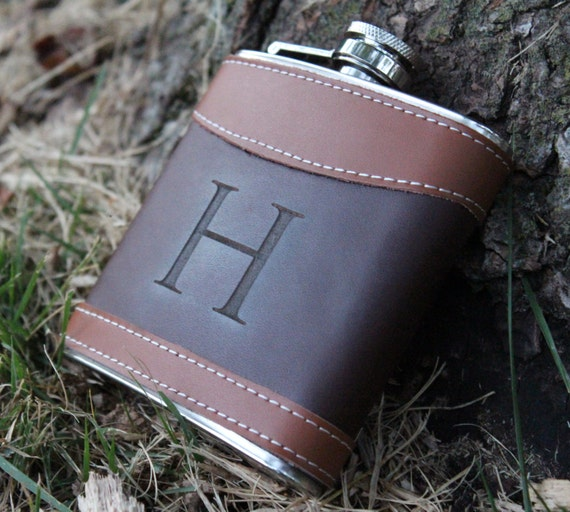Personalized Wedding Gifts For Groomsmen: Personalized Groomsmen Gift Leather Flask Rustic Wedding