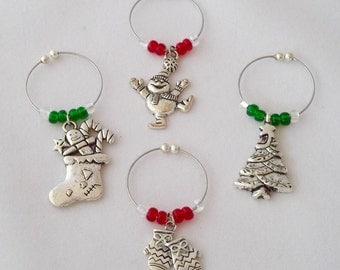 Christmas Wine Charms / Set 1 - Snowman, Mittens, Stocking and Christmas Tree