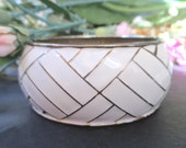 Cuff Bracelet * Wide * White Enamel And Gold Tone