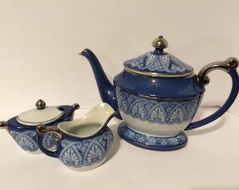 Bombay Cobalt Blue White & Silver Tea Service