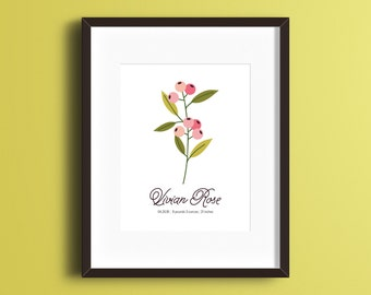 Custom Personalized Berry Flora Print