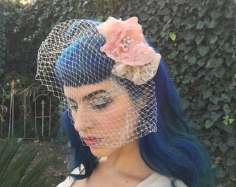 The Gorgeous Maureen- Vintage Inspired, Pink Chiffon, Champagne Lace, Rhinestone, Pearl, Birdcage Veil, Fascinator