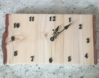 Pine natural wood Plank Clock 16x9