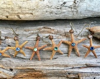 Gift, Starfish earrings, natural jewelry, boho jewelry, earrings, mermaid earrings