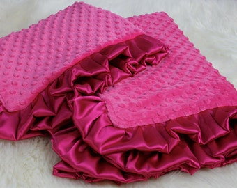 "Pink Bedding Set, Baby Girl Blanket 32""x40"",  Minky Baby Blanket, Pink Bedding Set with a Pillow Case,  Crib Blanket, Baby Girl Shower Gift"