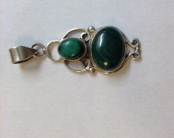 Double malachite and sterling silver pendant.