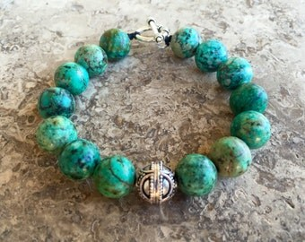 African Turquoise Bali Silver Bracelet