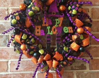 Ready to Ship Fun and Colorful Happy Halloween Wreath