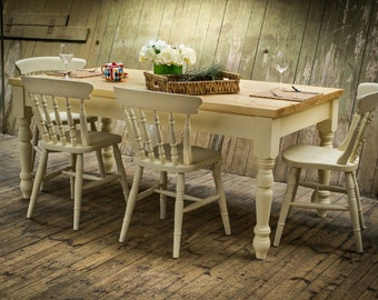Solid 6FT Country Farmhouse Table - Farrow & Ball - Chairs Also Available