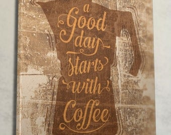"""Wall art """"Good day starts with Coffee"""" everyday quote canvas art"""
