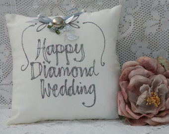 Hand painted pillow - Happy Diamond Wedding