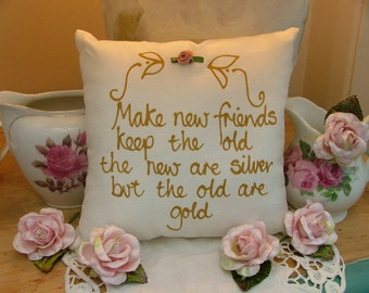 Hand painted friendship pillow - Make new friends