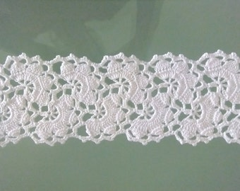 Table band, crochet, lace, 145 x 12 cm, white, 57.9 x 4.72 inches