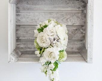 Cream silk, artificial tear drop brides bouquet