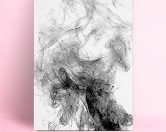 Black Smoke Photography, Printable Art, Instant Download, Wall Art, Wall Prints, Downloadable Art, Black and White, Smoke Art