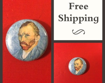 Van Gogh Self Portrait, Blue Button Pin, FREE SHIPPING & Coupon Codes