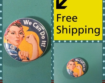 Rosie the Riveter Feminist Power Button Pin: FREE SHIPPING & Coupon Codes