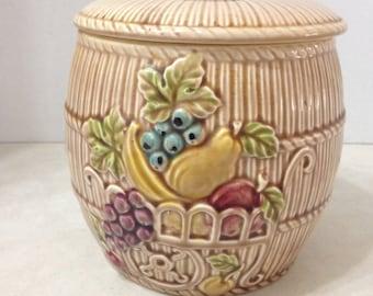 Brown Cookie Jar with Fruit, Vintage 1950's ESD Hand Painted Cookie Jar