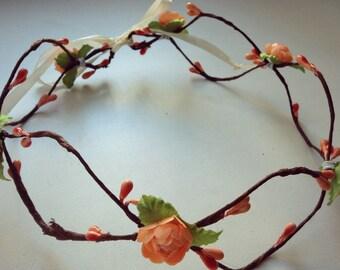 Ivory Rose Flower Crown, Flower Crown, Rose Headband, Wedding Festival Headband, Wire & Rose Headband, Wired Flower Crown