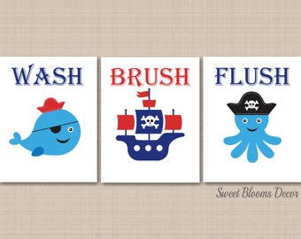 Pirates Bathroom Wall Art,Pirates Bathroom Decor,Pirates Kids Wall Art,Whale Ship BathroomPirates Wash Brush Flush- UNFRAMED Set of 3 B126